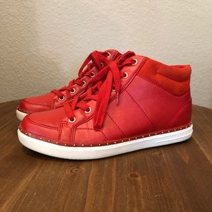 Aldo, 6, Red Leather High Top Sneakers